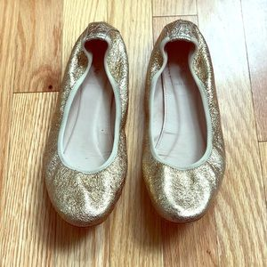 J. Crew Gold Metallic Ballet Flat Size 9 EUC